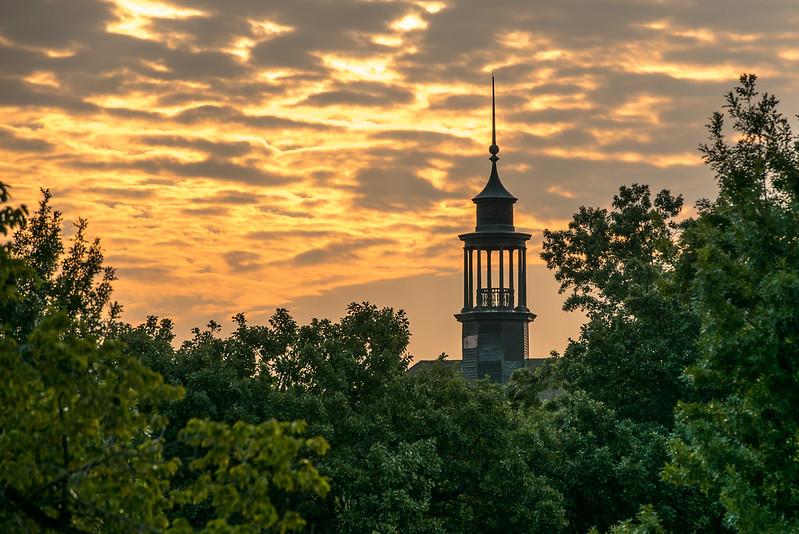 Photo of OSU Student Union lit by sunrise