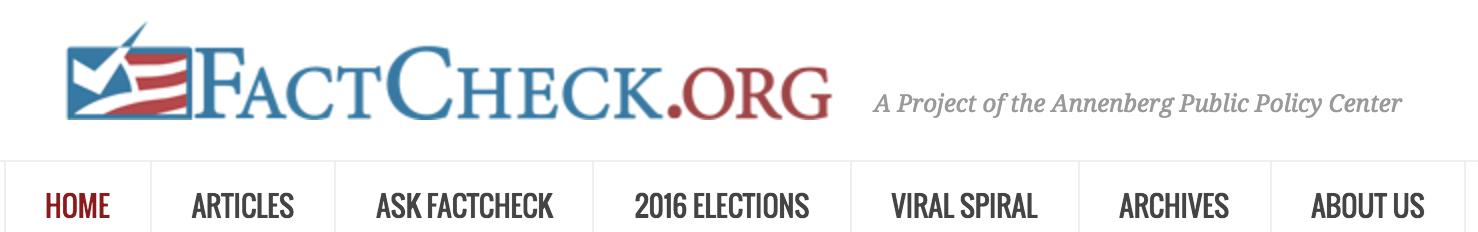 A screenshot of FactCheck.org