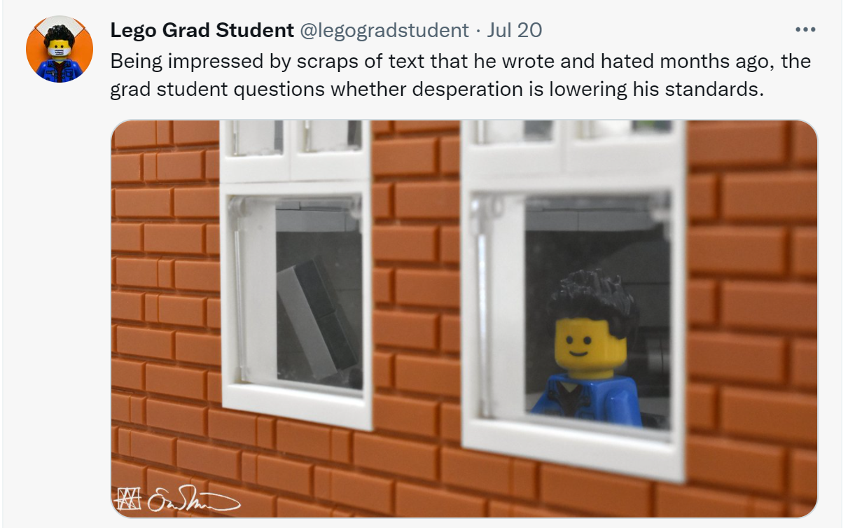 Image of a tweet by @legograd student. Lego figure with black hair looking out a window. Captioned Being impressed by scraps of text that he wrote and hated months ago, the grad student questions whether desperation is lowering his standards.