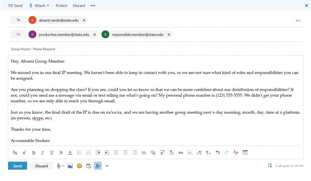 Example of email sent to absent group member