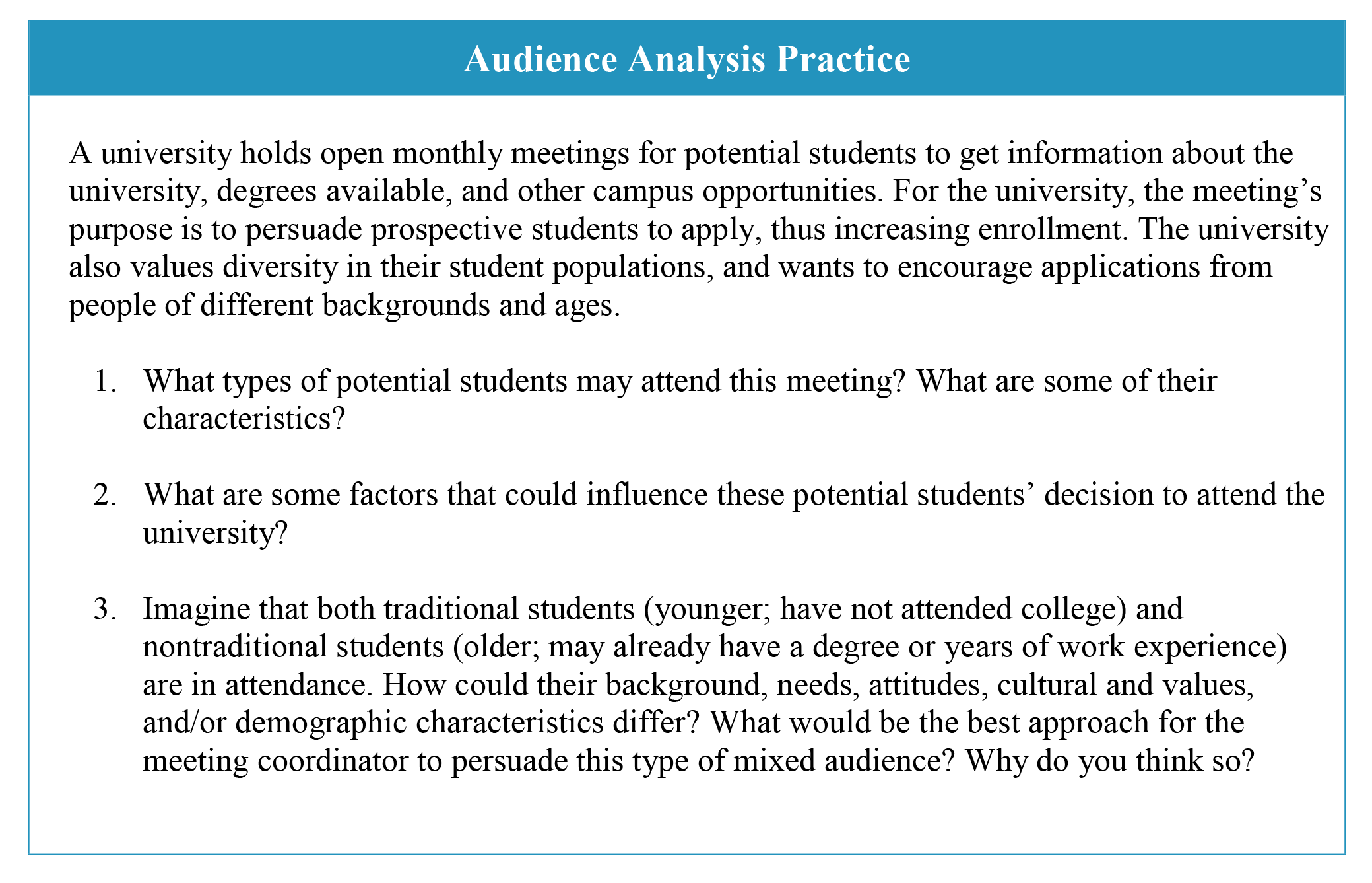 Text presenting scenarios for audience analysis practice.