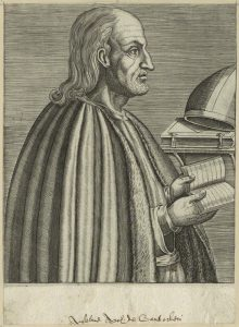 A late-16th century line engraving of St Anselm, inscribed Anselme Arch. de Cantorberi in secretary script. 7 5/8 in. x 5 ½ in. (195 mm x 141 mm) sheet.